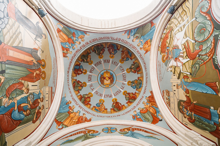 Tbilisi, Georgia - May 24, 2016: Bottom View Of Dome, Ceiling Painted With Frescoes On Biblical Story, The Interior Of Kashveti Church Of St. George, Georgian Orthodox Church.