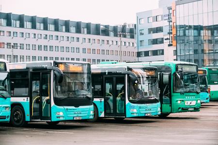 Tallinn, Estonia - December 2, 2016: Buses Are Parked In Parking Lot On The Hobujaama Street.