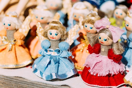Colorful Belarusian Straw Dolls At Local Market. Straw Dolls Are Most Popular Souvenirs From Belarus And Symbol Of Countrys Culture