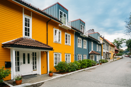 Bergen Norway. Colorful Facades Of Houses On Deserted Street At Residential Area