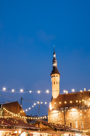 town hall square: Christmas Market On Town Hall Square - Raekoja Plats In Tallinn, Stock Photo