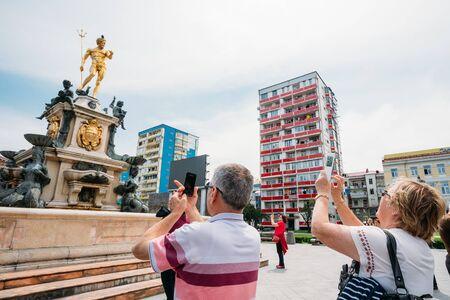 rustaveli: Batumi, Adjara, Georgia. Neptune Fountain in park on Rustaveli Ave
