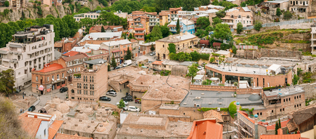 historic district: Historic District. Abanotubani - Bath District In Tbilisi Old Town Stock Photo