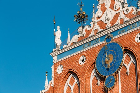 dial plate: Sculptures On The Facade Of The House Of Blackheads In Riga, Latvia Stock Photo