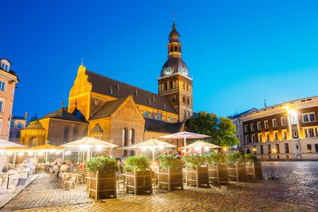 Riga Latvia. Dome Cathedral In Bright Evening Illumination Medie Stock Photo