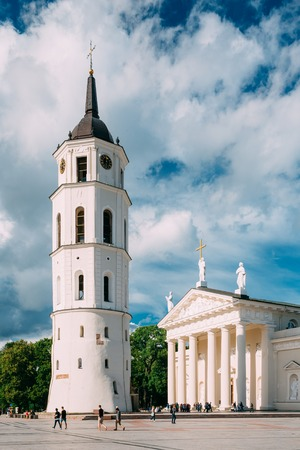 Vilnius Lithuania. Bell Tower And Cathedral Basilica Of St. Stan Stock Photo