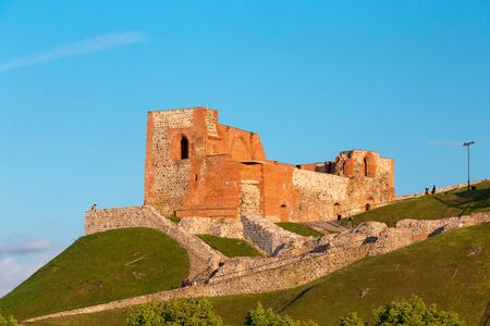 Vilnius Lithuania. Remains Of Ancient Fortress Of Upper Castle On Gediminas Hill, Stock Photo