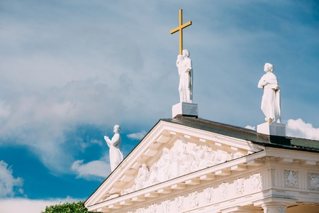 pediment: Vilnius Lithuania. Close Pediment Of Cathedral Basilica Of St. Stanislaus Stock Photo