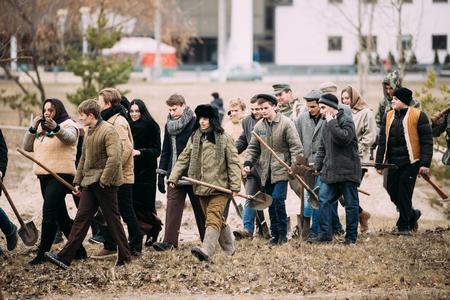Actors dressed as civilians at Soviet territory under Nazis occu