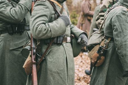 reenaction: German military ammunition of a German soldier at World War II.