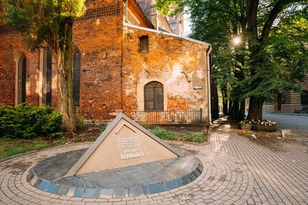 Riga Latvia. Summer View Of Pyramidal Monument To Barricades And