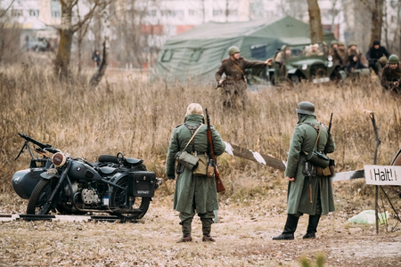 wehrmacht: Unidentified Re-enactors Dressed As German Infantry Wehrmacht so Stock Photo