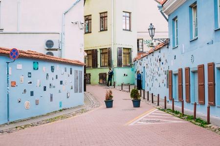 Literatu Street in Old Town of Vilnius, Lithuania. Wall c literatu