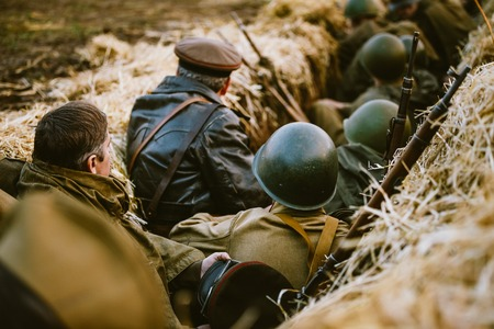 reenactment: Reconstruction of Battle during events dedicated to 70th anniver