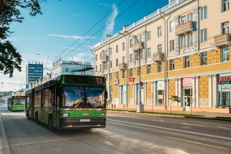 lenin: Gomel, Belarus. Public Bus Rides On The Lenin Avenue Street In S