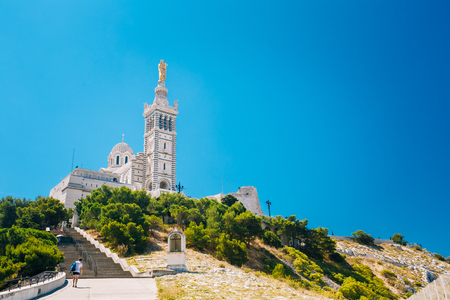 Catholic Basilica of Our Lady of the Guard or Notre Dame De La Garde church Stock Photo