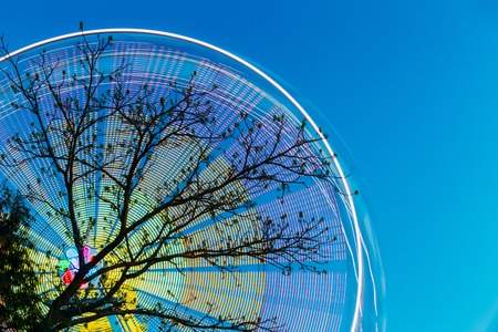 Tree Branches Against Backdrop Of Bright Spinning Ferris Wheel At Spring Evening Or Night. Stock Photo