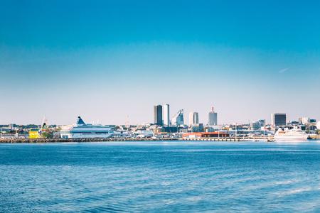 Tallinn, Estonia. Skyline Of Tallinn, Blue Clear Sky At Sunny Day Stock Photo