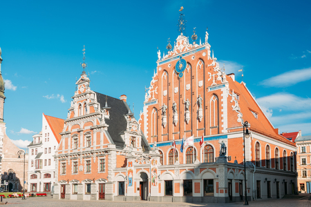 Riga, Latvia. Schwabe House At Town Hall Square, Ancient Historical Landmark