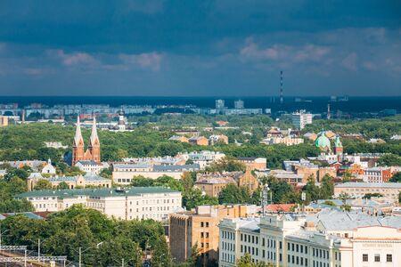 Riga, Latvia. Aerial Cityscape In Sunny Day. Top View Of Landmar Stock Photo