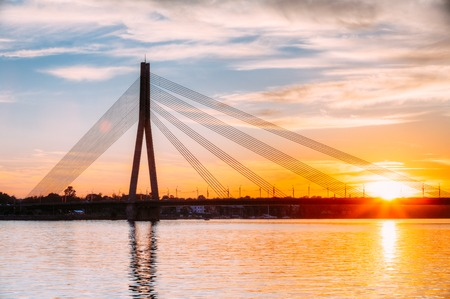 Riga, Latvia. Vansu Cable-Stayed Bridge Over The Daugava River, Stock Photo