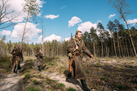 Re-enactors Dressed As Soviet Russian Red Army Infantry Soldiers Editorial