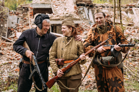 Re-enactors Dressed As Russian Soviet Red Army Crew Member And S Editorial