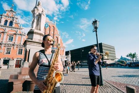 Riga Latvia Street Music Trio Band, Three Young Guys Playing Ins