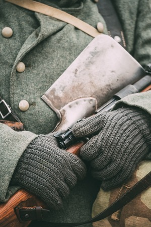 reenactmant: German military ammunition of a German soldier at World War II.