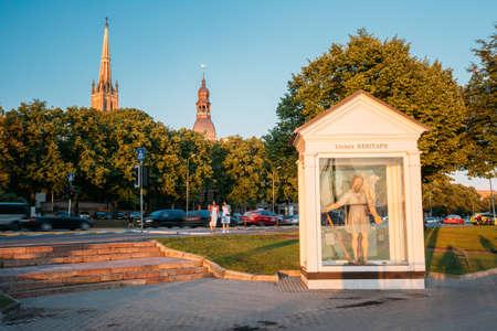 Riga, Latvia. St Christopher, Or Big Kristaps Statue Sculpture Editorial