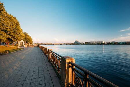 Riga Latvia. City promenade near Daugava River, National Library Editorial