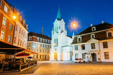 Riga Latvia. Virgin Of Anguish Or Our Lady Of Sorrows Church On