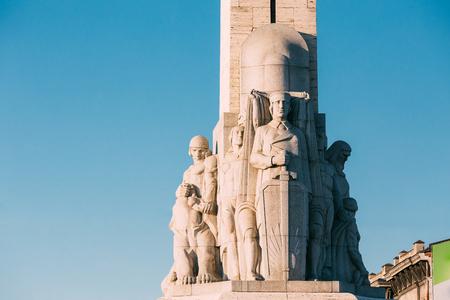 리가, 라트비아. 유명한 랜드 마크 - 기념 무료의 세부를 닫습니다