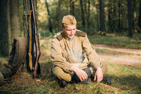 reenactor: Reenactor Man Dressed As Russian Soviet Red Army Infantry Soldie Editorial