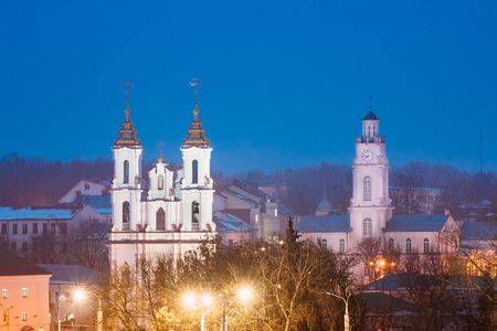 Vitebsk, Belarus. Evening Night View Of Famous Landmarks Is Church