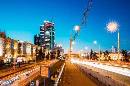 illuminated: Night Traffic On Illuminated Street Pobediteley Avenue In Minsk.