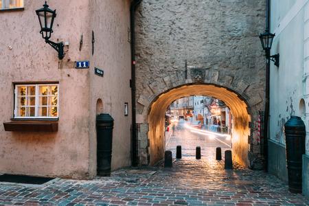 illuminated: Riga, Latvia. Swedish Gate Gates Is A Famous Landmark. Old Arch Editorial