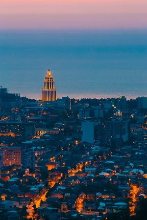 estate: Batumi, Adjara, Georgia. Aerial View Of Urban Cityscape At Evening
