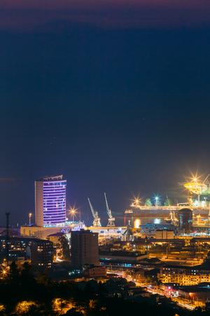 Batumi, Adjara, Georgia. Aerial View Of Urban Cityscape At Evening