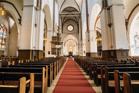 Riga, Latvia. Interior Of The Riga Dom Dome Cathedral. Church