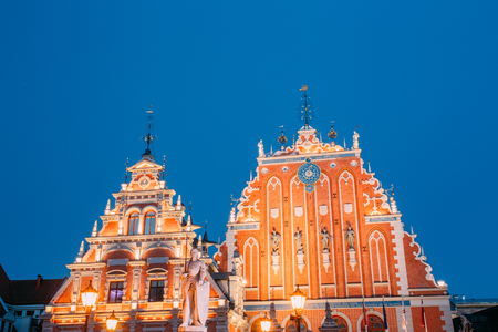 Riga, Latvia. Schwabe House And House Of The Blackheads At Town Stock Photo