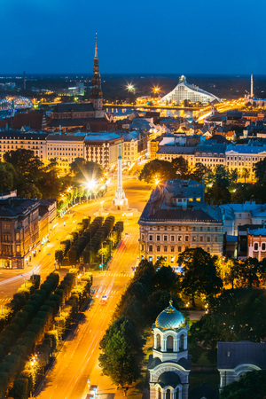 Riga, Latvia. Aerial View Of Cityscape In Evening Night Lights I