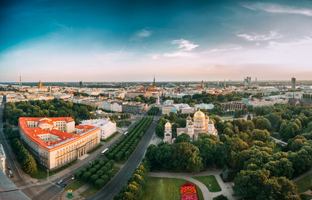ministers: Riga, Latvia. Riga Cityscape. Top View Of Buildings Ministry Of