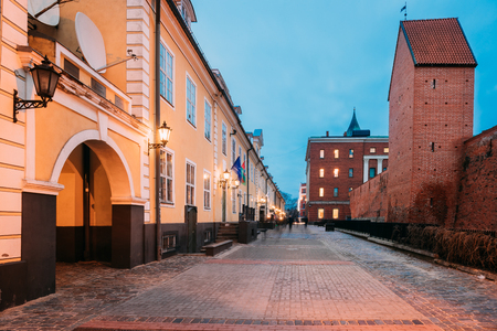 Riga, Latvia. Facades Of Old Famous Jacobs Barracks On Torna St Stock Photo