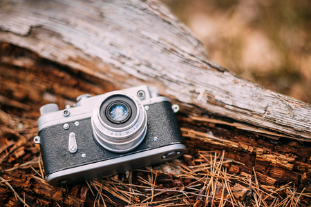 Old Vintage Small-Format Rangefinder Camera, 1950-1960s. Stock Photo