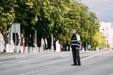 Traffic Road Police Officer Policeman Inspector Regulates Traffic Editorial