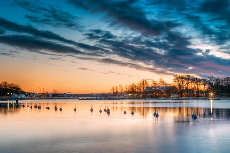 Helsinki, Finland. Landscape With City Pier, Jetty At Winter Sunrise Stock Photo
