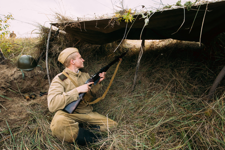 Reenactor Dressed As Russian Soviet Red Army Soldier Of World War II