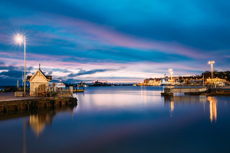 Helsinki, Finland. Landscape With City Pier, Jetty At Winter Sunrise Editorial