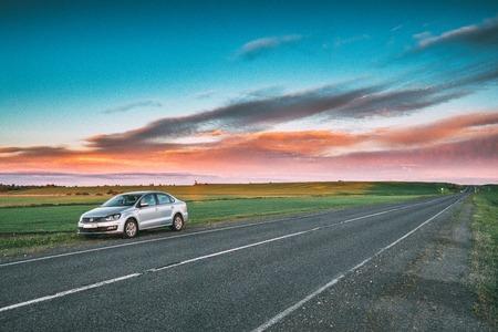 illustrative editorial: VW Volkswagen Polo Vento Sedan Car Parking Near Asphalt Country Editorial